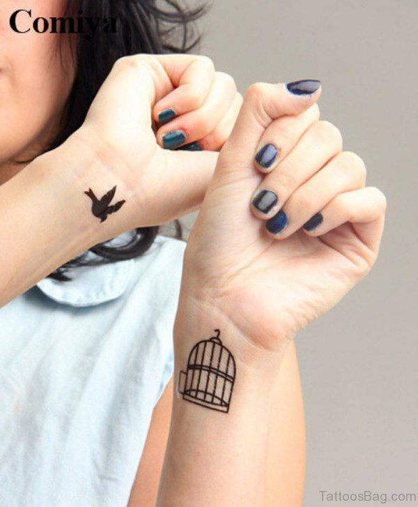 Cool Bird And Cage Wrist Tattoo
