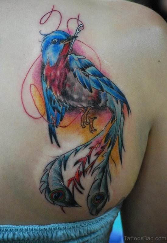 Cool Blue Phoenix Tattoo