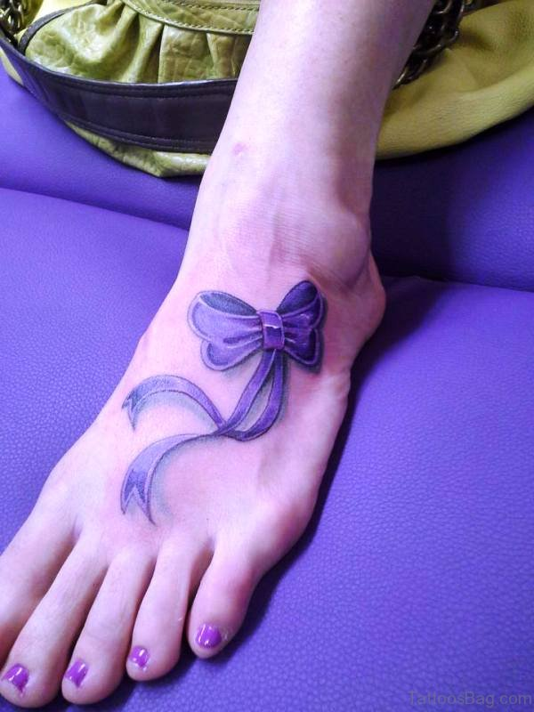 Cool Bow Tattoo On Foot