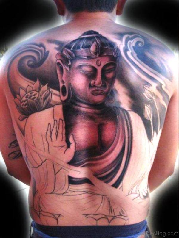 Cool Buddha Tattoo On Back