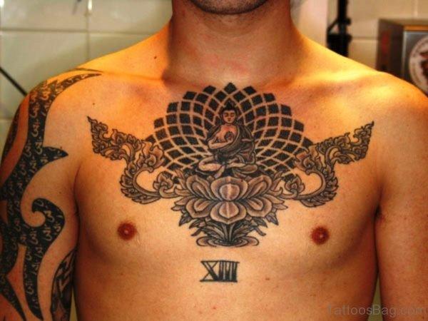 Cool Buddha Tattoo On Chest