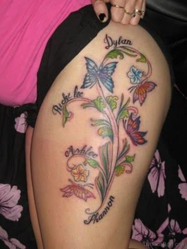 Cool Butterfly Tattoo On Thigh