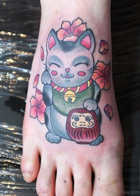 54 sweet cat tattoos on foot for Cool cat tattoo