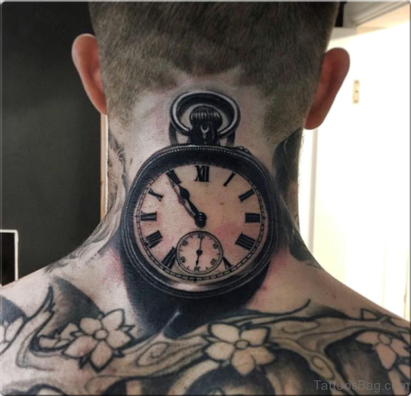 Cool Clock Tattoo On Neck