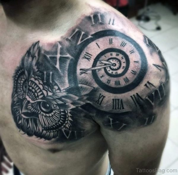 Cool Clock Tattoos On Man Chest