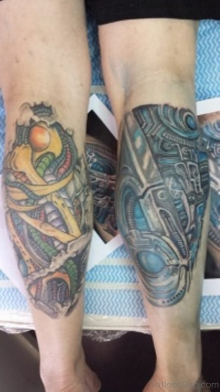 Cool Colored Biomechanical Tattoo