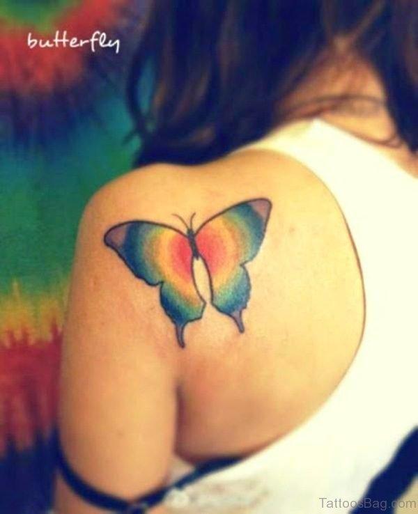 Cool Colorful Butterflt Tattoo On Back Shoulder