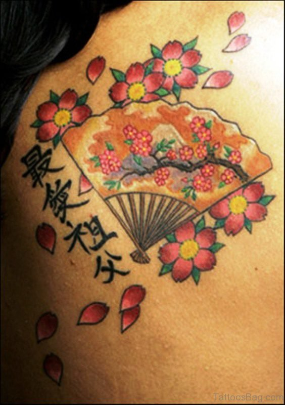 Cool Colorful Cherry Blossom Flowers Tattoo