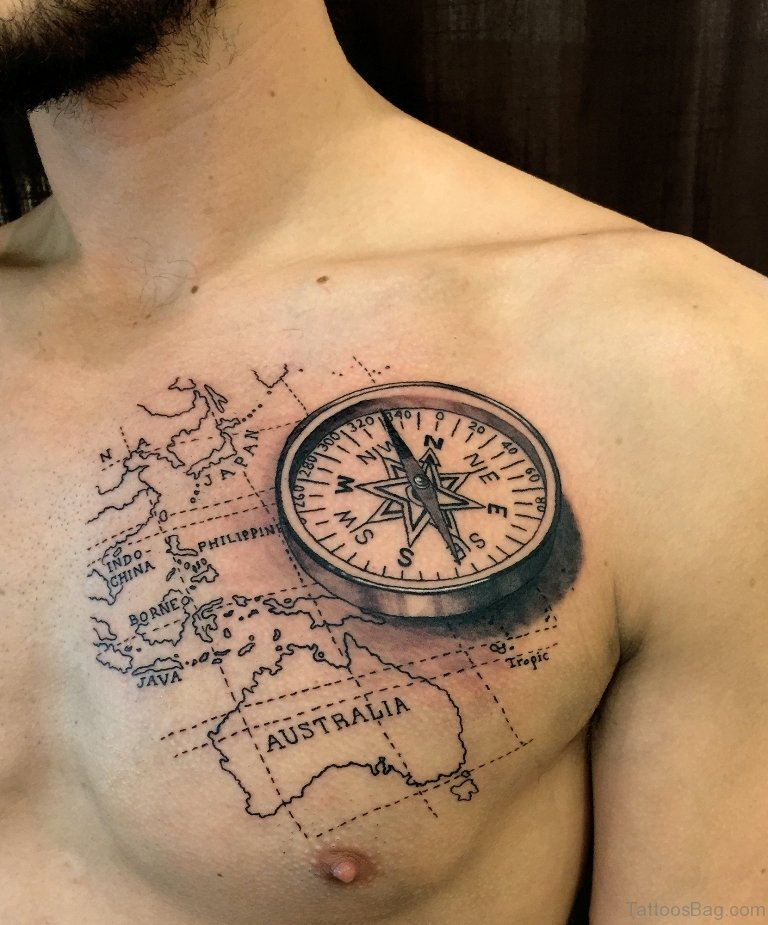 51 Attractive Compass Tattoo Design On Chest
