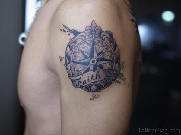Cool Compass Tattoo On Shoulder