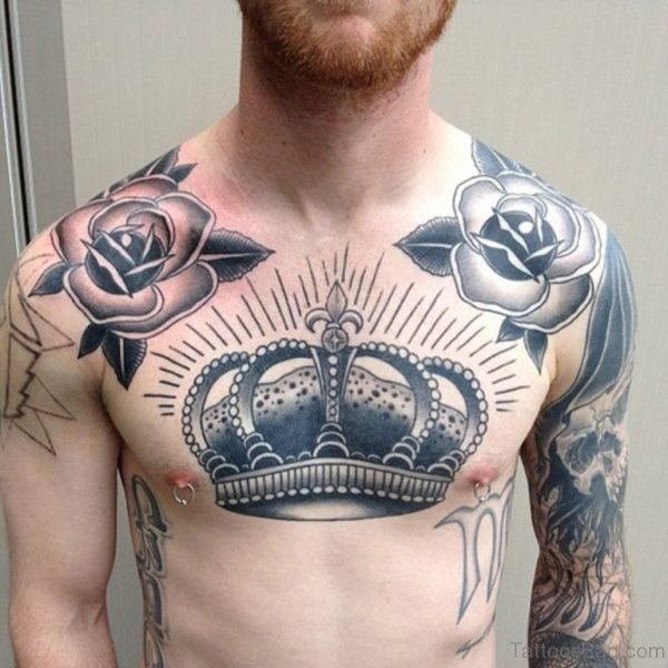 Cool Crown Chest Tattoo for Men