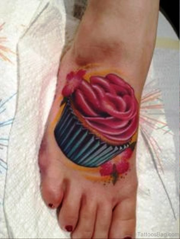 Cool Cupcake Tattoo On Foot