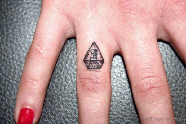Cool Diamond Tattoo On Finger