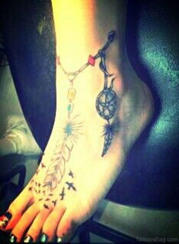 Cool Dreamcatcher Tattoo On Ankel
