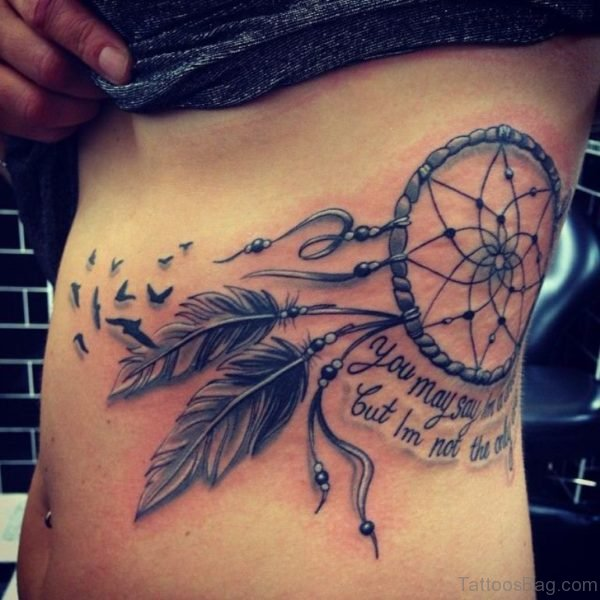 Cool Dreamcatcher Tattoo On Rib