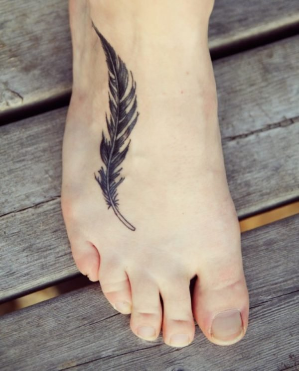 Cool Feather Tattoo Design On Ankle