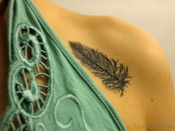 Cool Feather Tattoo On Chest