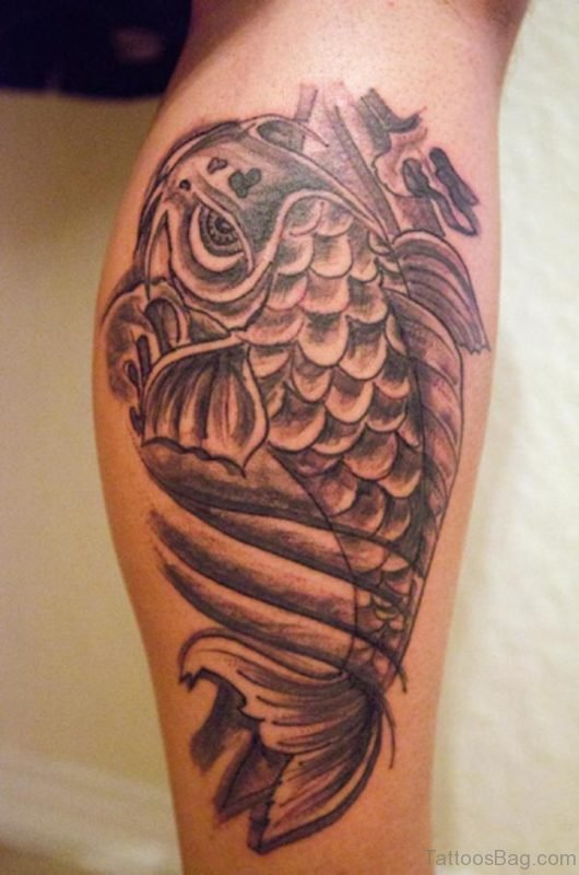 Cool Fish Tattoo On Leg