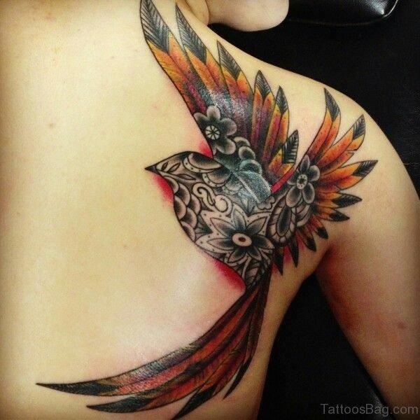 Cool Flying Phoenix Tattoo