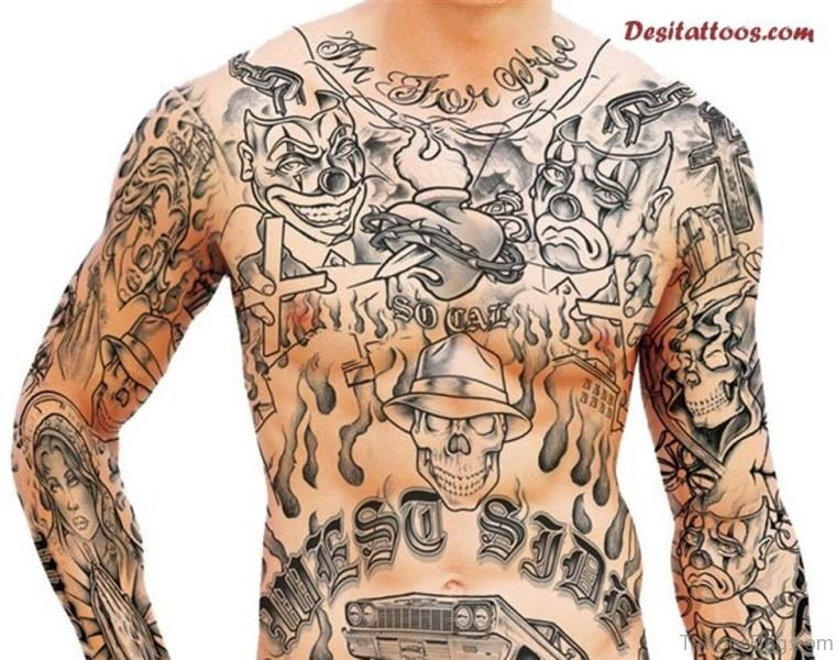 Cool Gangster Neck Tattoo Design