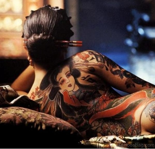 Cool Geisha Tattoo On Back
