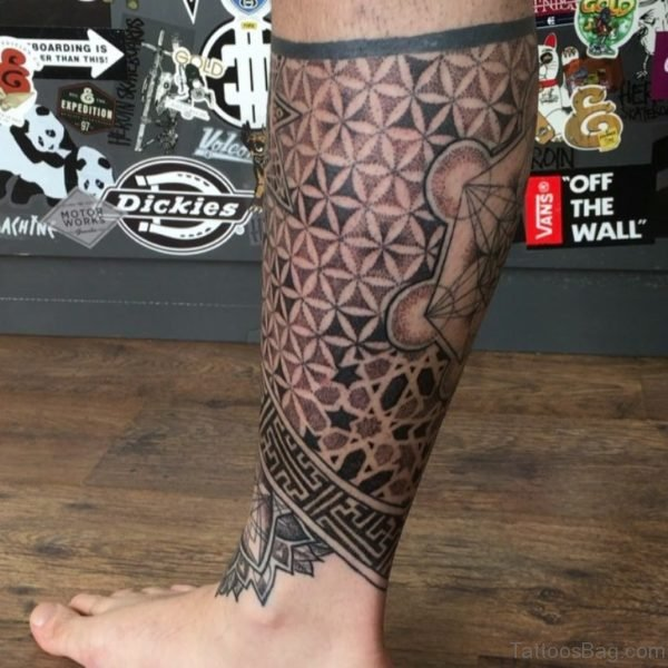 Cool Geometric Tattoo On Leg