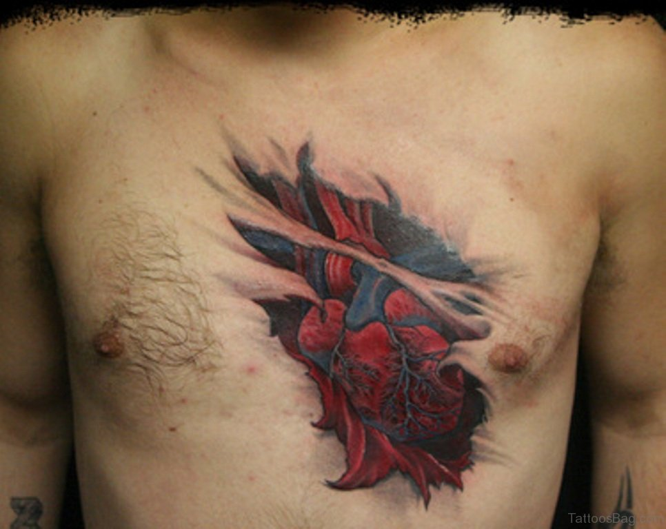Amazing Tattoos Heart Beat With Dates: 75 Attractive Heart Tattoos On Chest
