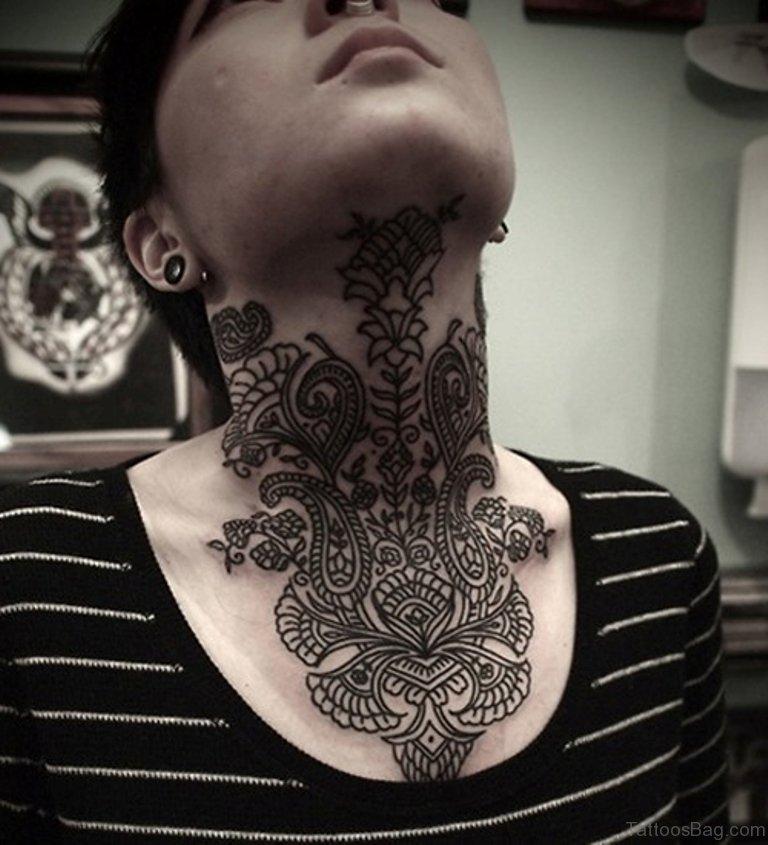 50 Cute Henna Neck Tattoos