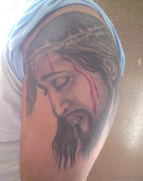 Cool Jesus Tattoo On Shoulder