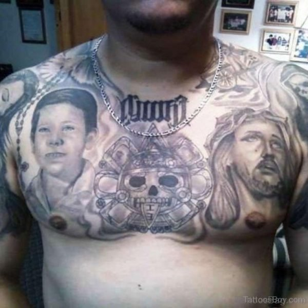 Cool Jesus Tattoo On chest