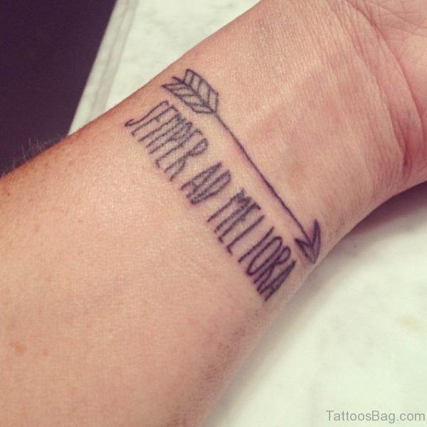 Cool Lettering Arrow Tattoo On Wrist