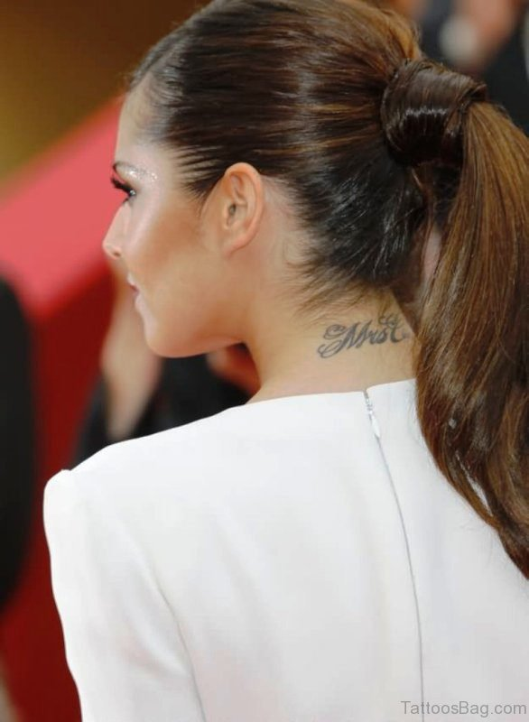 Cool Lettering Neck Tattoo