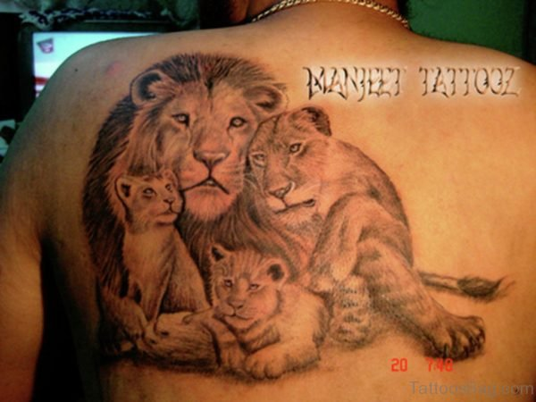 Cool Lion Family Tattoo On Back