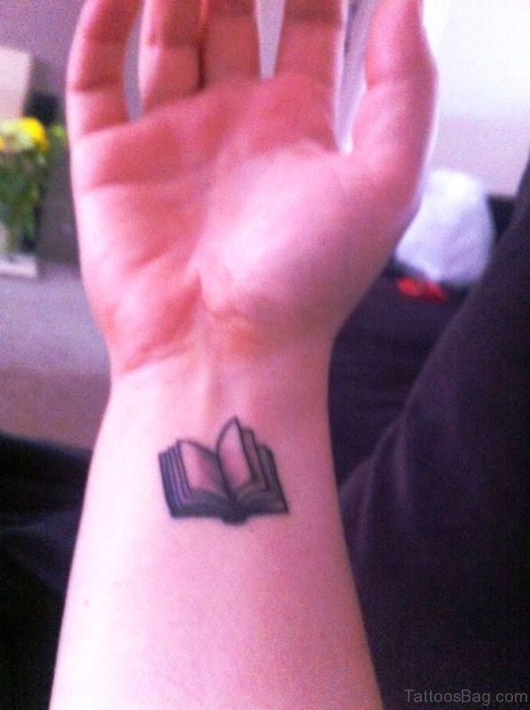Cool Open Book Wrist Tattoo