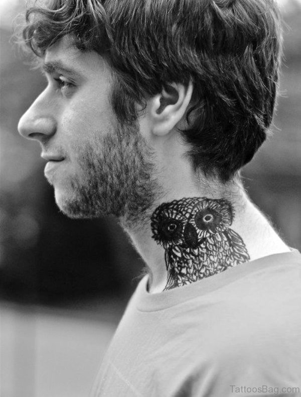 Cool Owl Neck Tattoo