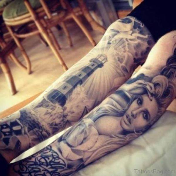 Cool Portrait Tattoo On LEg