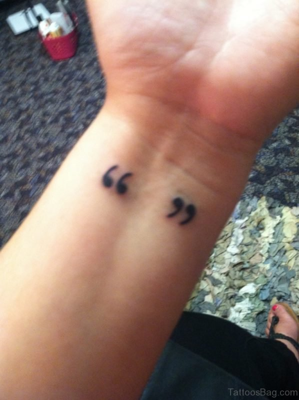Cool Quotation Mark Wrist Tattoo