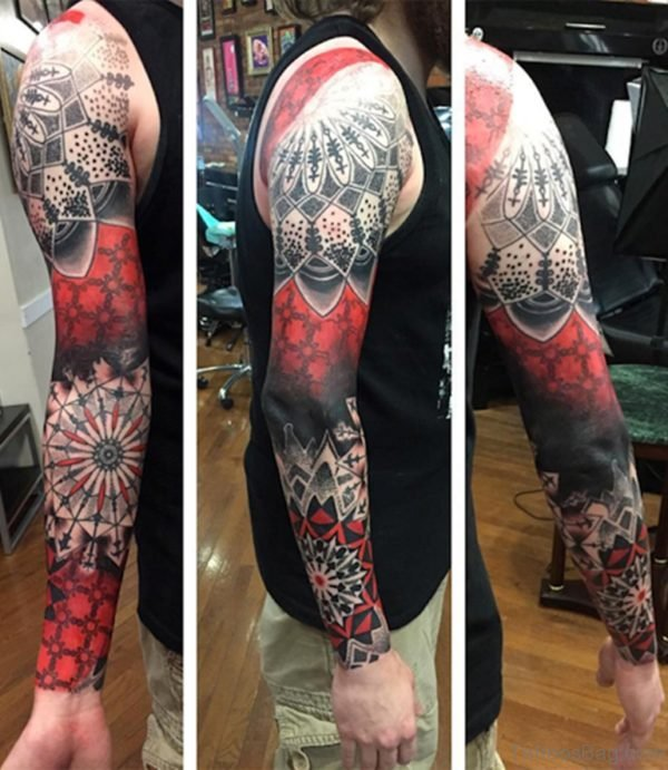 Cool Red Full Sleeve Tattoos Design for Men