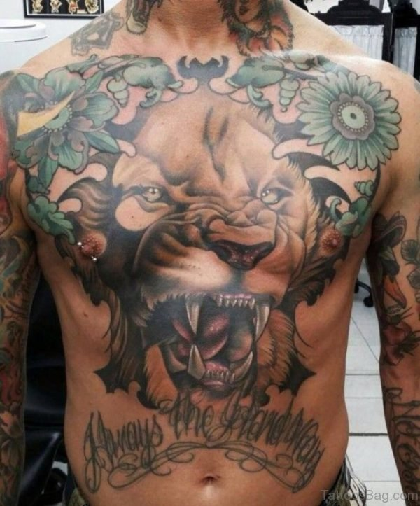 Cool Roaring Lion Tattoo On Chest