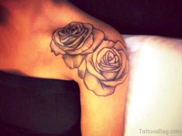 Cool Rose Flower Tattoo On Shouler
