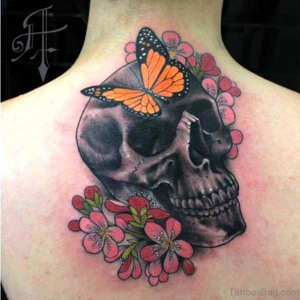 Cool Skull Neck Tattoo
