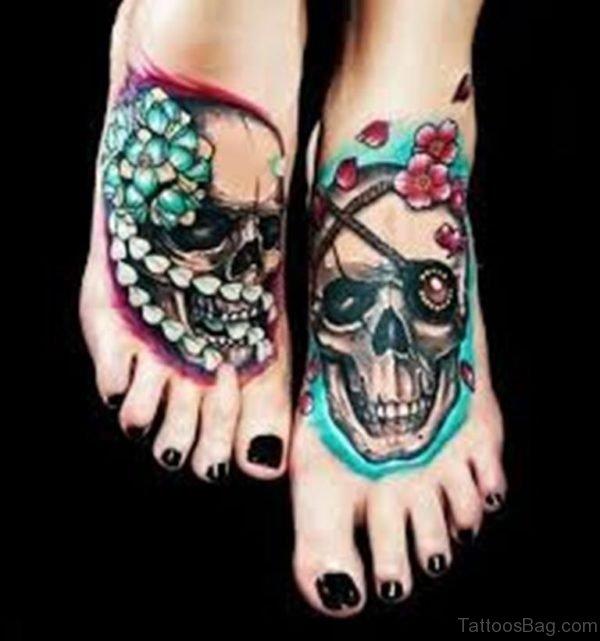 Cool Skull Tattoo On Foot