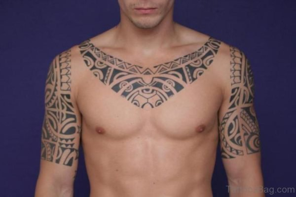 Cool Tribal Tattoo On Neck