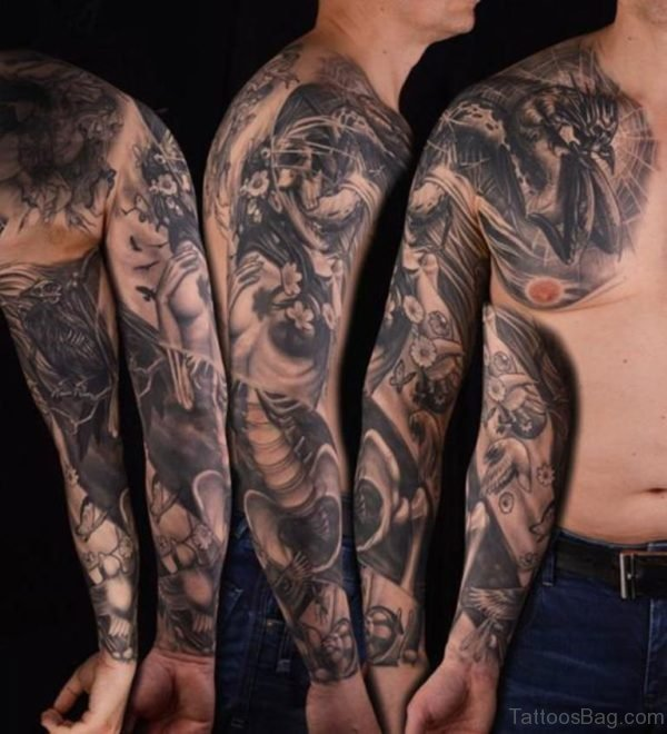 Cool Warrior Tattoo On Full Sleeve