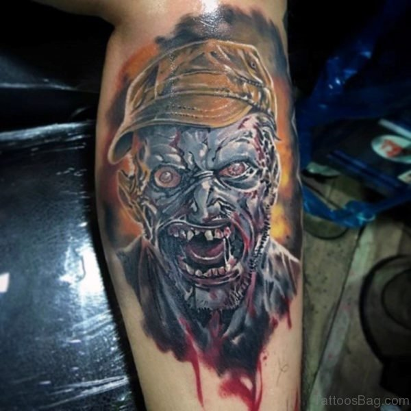 Cool Watercolor Zombie Leg Calf Tattoo For Men