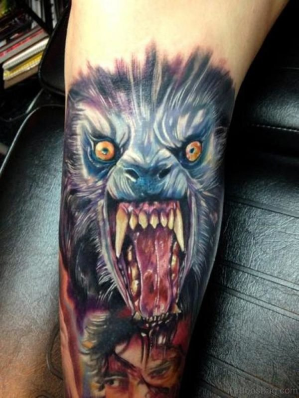 Cool Wolf Tattoo On Arm