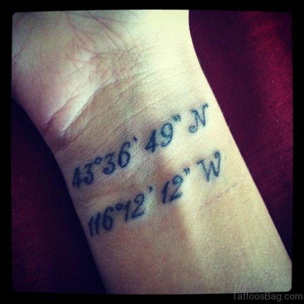Coordinate Wrist Tattoo