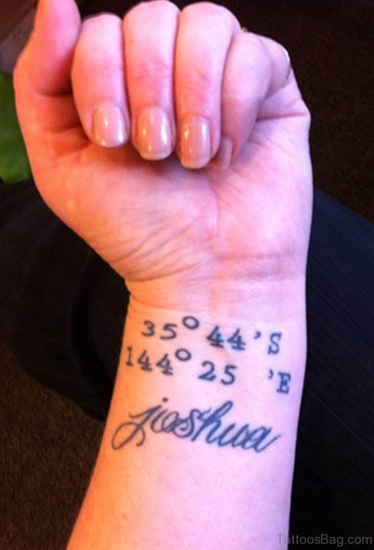 Coordinates Tattoo With Name On Wrist