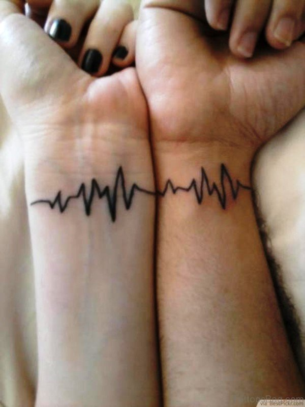 Couple Heartbeat Tattoo On Wrist