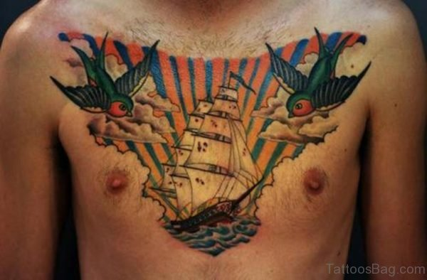 Couple Of Birds And Ship Tattoos On Chest